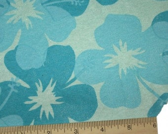 Teal Blue Turquoise Blue Hibiscus Sparkle Cotton Jersey KNit FAbric