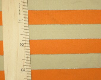 "Apx. 1/2"" Tangerine Orange & Nude Sparkle Lurex Nylon Spandex Stripe Knit FAbric"