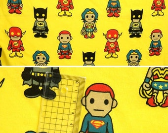 Asian Super Heroes on Yellow Cotton Lycra Knit FAbric