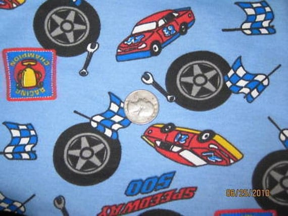 Cute boy print racecar speedway cotton baby rib knit fabric for Cute baby fabric prints