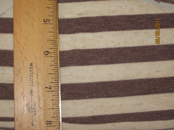 """Oat & Heathered Brown 1/2"""" STripe Knit FAbric"""