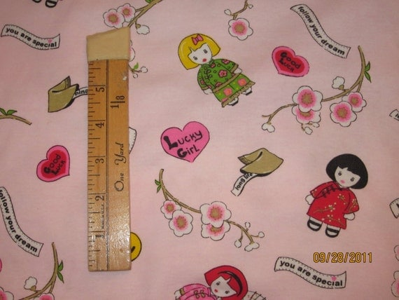China Fortune Cookie Doll Baby Rib Cotton Knit FAbric