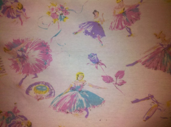 Beautiful Colorful Ballerinas on White Cotton Baby rib.