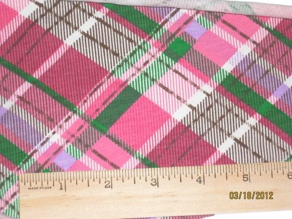 Pink Mojito  Cross Diagonal Plaid Cotton Lycra Knit Fabric