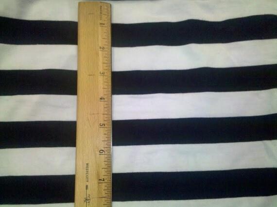 "1"" Navy Blue and White Stripe PolyCotton Jersey Knit FAbric"