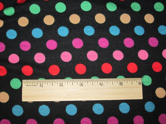 Multi Fun Dots on Black Knit Fabric