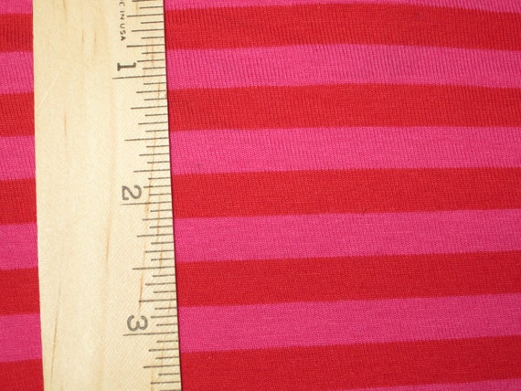 "Euro Style Red & Fuchsia Cherry Bomb apx. 3/8"" Cotton LYcra Stripe Knit FAbric"
