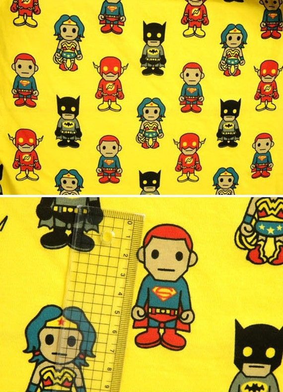 HTF Asian Super Heroes on Yellow Cotton Lycra Knit FAbric