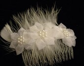 Feathers and Flowers Bridal Hair Comb