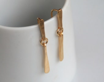 Modern 18k Gold Earrings - Long, Delicate, Hook or French Wire, Everyday, Forged, Wedges