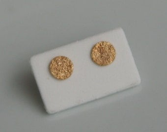Sandy Textured 18k Gold Stud Earrings