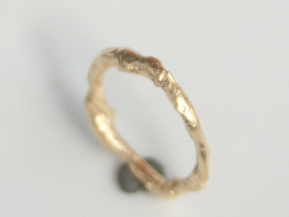 18k Gold Wedding Ring with Organic Fused Texture