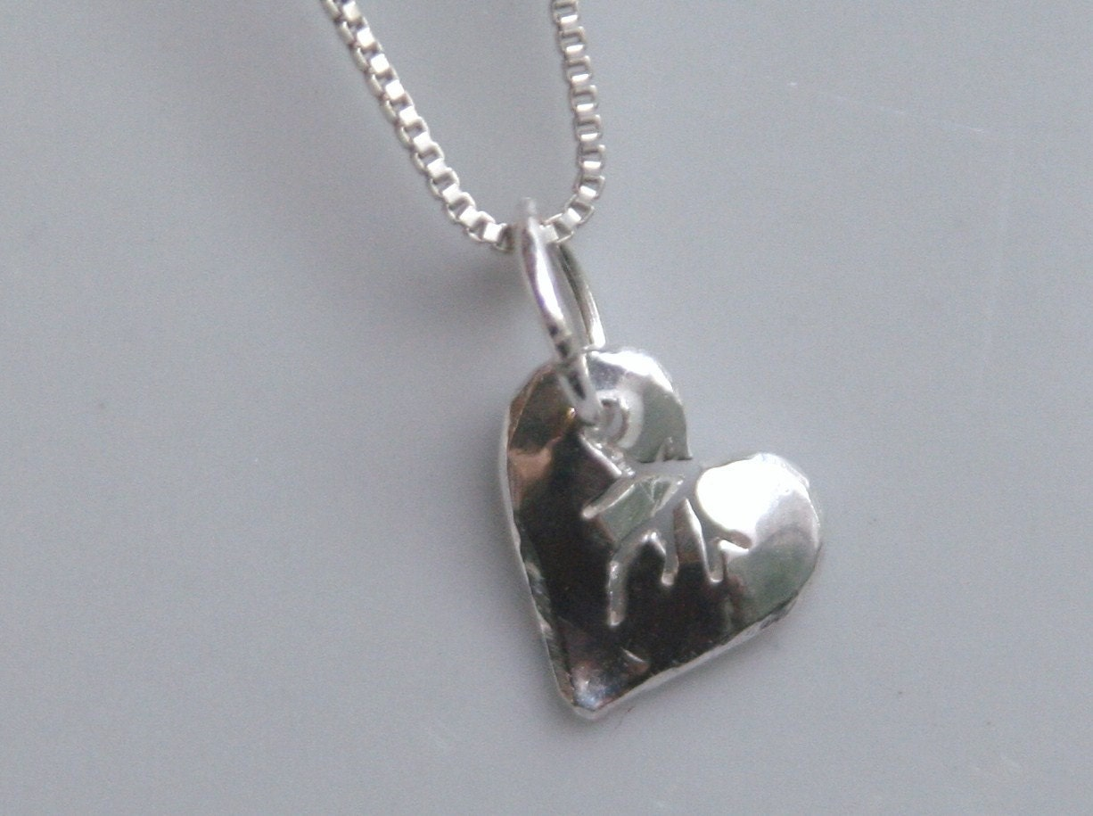 silver broken pendant or charm small tiny by