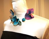 Floral felt and  handmade polymer clay beads necklace Petunias