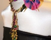 Wearable Art  lariat fiber floral necklace Passion flower felt and wool