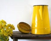 Vintage Polish Enamel Teapot in Bright Yellow - Retro/Folk/Shabby Chic