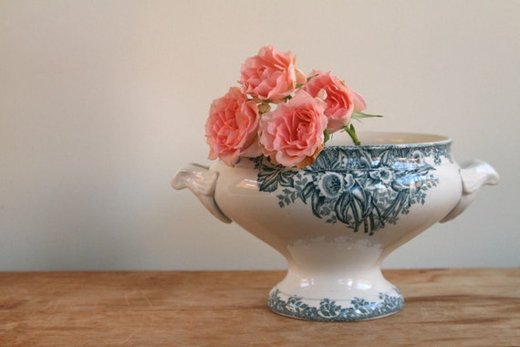 10% Off May Sale - Antique French Saint Amand Soup Toureen - Shabby Chic