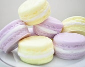 Food Soap gift set - French Macaron Soap - French Macaroon - pastel lavender purple & butter lemon yellow