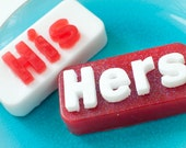 His and Hers Soap - Gift Set - Valentine Soap - couples soap - Lime & Strawberry - Bar Soap - Wedding soap - Anniversary Soap
