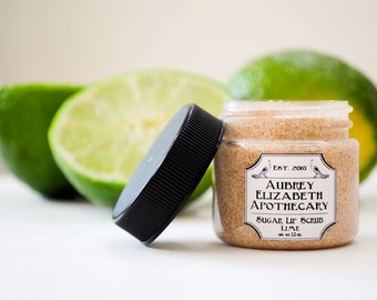 Sugar Lip Scrub 1 oz. Jar - Lime  - all natural & vegan -  2 in 1 scrub and balm