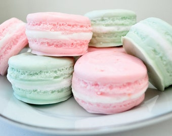 French Macaron gift set of Soaps - Valentine's day soap - 2 macaroons - food soap - 5.5 oz - pastel pink and mint green - raspberry lime