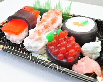Sushi Soap Gift Set - Ginger fizz Scented - Vegan Soap - food soap - Shrimp, Tuna in a real Sushi Take out box