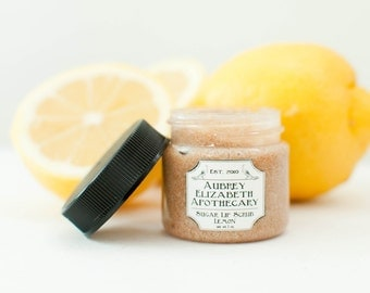 Lemon Lip Scrub - all natural & vegan sugar lip polish -  2 in 1 scrub and balm - exfoliate and hydrate