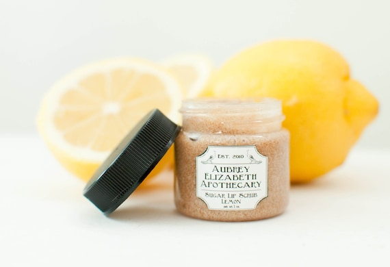Lemon Lip Scrub - all natural & vegan sugar lip polish -  2 in 1 scrub and balm