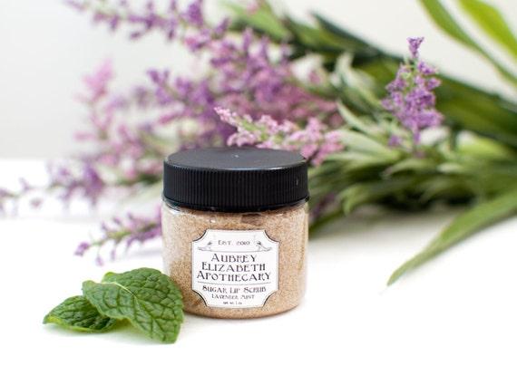 Lavender Mint Sugar Lip Scrub in a Jar - All Natural Lip Polish