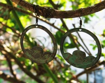 Antiqued Patina Flower Earrings
