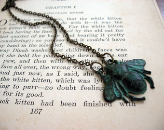 Antiqued Patina Bumble Bee Necklace