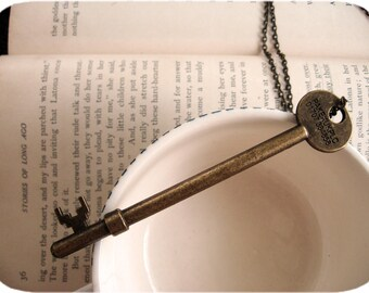 Large Brass Skeleton Key Necklace