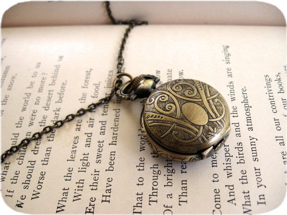 Small Engraved Pocket Watch Necklace
