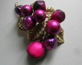Signed Art brooch with beaded fruit VJSE