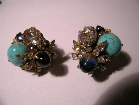 Miriam Haskell Rhinestone Earrings          VJSE
