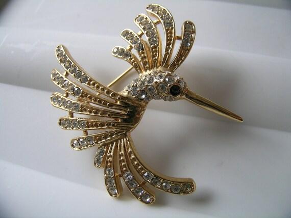 Rhinestone humming bird brooch     VJSE