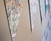 Recycled Map Bunting/Garland - Wedding or party decoration