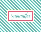 Personalized laminated placemat: 11 x 17 Stripes Design