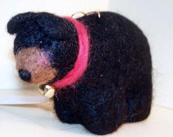 Wool Felted Black Bear