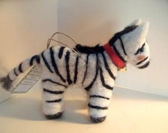 Zebra Felted Wool Ornament/Sculpture