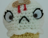 "CUSTOM Ouch Cream Cone in Vanilla - ""antigurumi"" amigurumi figure"