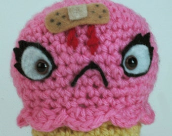 "CUSTOM Ouch Cream Cone in Strawberry - ""antigurumi"" amigurumi figure"