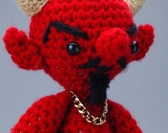 "S'tan the Man - CUSTOM ""Antigurumi"" crocheted Satan figure"