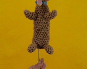 Weiner Dog on a Stick - (Ready to ship) crocheted amigurumi puppy snack