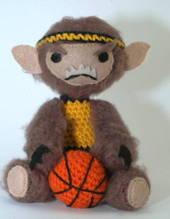 Teen Wolfy amigurumi werewolf figure with Basketball