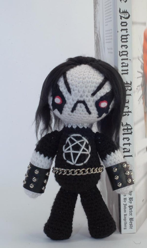 "CUSTOM Grimm the Little Black Metal Dude ""Antigurumi"" amigurumi figure"