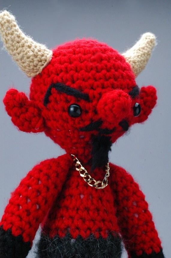 """S'tan the Man - CUSTOM """"Antigurumi"""" crocheted Satan figure"""