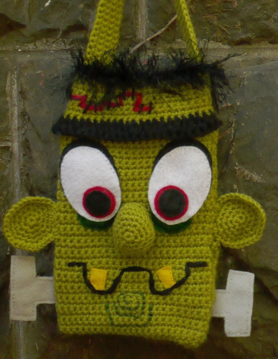 Frankenstein crocheted purse or bag (Ready to ship)