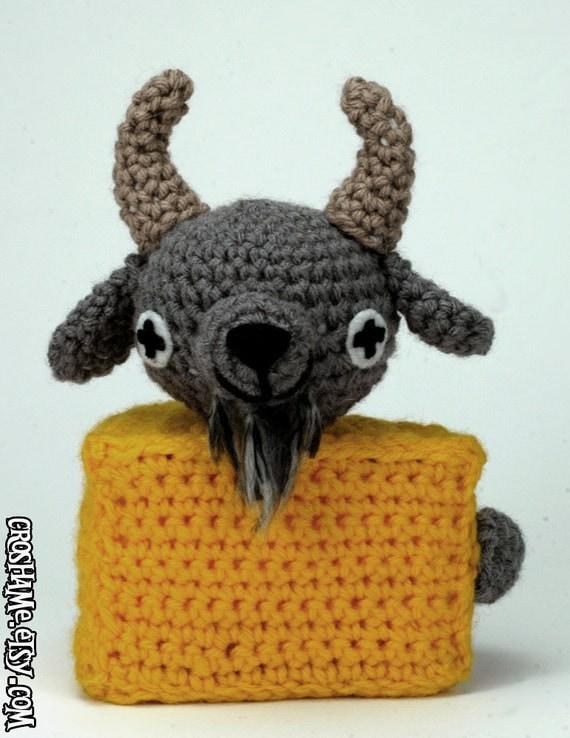"""Goatse Cheese - CUSTOM crocheted """"antigurumi"""" figure - MATURE"""