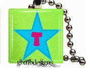 Your Initial Necklace on Glass tile - Includes 925 plated over bronze ball chain